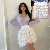 skirt Spring 2021 Average size Black, white Short skirt Versatile High waist A-line skirt Solid color Type A 18-24 years old 91% (inclusive) - 95% (inclusive) other cotton 201g / m ^ 2 (including) - 250G / m ^ 2 (including)