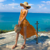 Dress Summer 2020 Orange S,M,L longuette singleton  Sleeveless Sweet V-neck High waist Solid color other Irregular skirt camisole 25-29 years old Type A Silk and satin other Bohemia