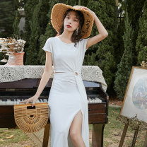 Dress Spring 2020 white S,M,L,XL longuette singleton  Short sleeve Sweet Crew neck High waist Solid color Others Hollowed out, stitched Bohemia