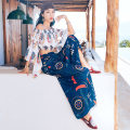 Lace / Chiffon Winter of 2019 Top, trousers, suit Average size Short sleeve commute Socket Two piece set have cash less than that is registered in the accounts One word collar Decor pagoda sleeve ethnic style