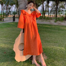 Dress Spring 2021 Orange S,M,L,XL Mid length dress singleton  three quarter sleeve commute Lotus leaf collar Loose waist Solid color Socket other other 25-29 years old Type H Retro 31% (inclusive) - 50% (inclusive) other hemp