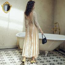 Dress Summer 2020 Single skirt, skirt + scarf S,M,L longuette singleton  Long sleeves Sweet High waist Socket A-line skirt Lace