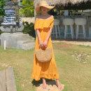 Dress Spring 2020 yellow S,M,L longuette singleton  Sweet One word collar Elastic waist Solid color Big swing 31% (inclusive) - 50% (inclusive) brocade cotton Bohemia