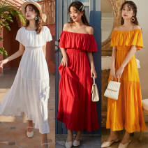 Dress Spring 2020 Yellow, red, white S,M,L longuette singleton  Short sleeve commute One word collar Elastic waist Solid color Socket A-line skirt Breast wrapping Type A Ruffles, folds, stitches