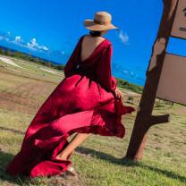 Dress Autumn 2020 Picture color S,M,L longuette Long sleeves Sweet V-neck Bohemia
