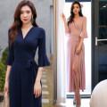 Dress Spring 2020 1736 navy blue, 1736 lotus pink, 17411739172017321715 diamond lattice, 87461706-11706-217181701 blue, 1701 orange, 1715 pure black, 1712 pink, 86808617338812 S,M,L,XL,2XL longuette three quarter sleeve Sweet V-neck High waist Decor One pace skirt Breast wrapping 25-29 years old