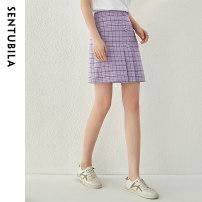 skirt Spring 2021 S,M,L,XL Lilac Short skirt commute High waist High waist skirt lattice Type A 25-29 years old 111Q34171 SENTUBILA other Sequins, buttons Ol style
