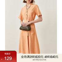 Dress Summer 2021 Warm orange S,M,L,XL Mid length dress singleton  Short sleeve commute V-neck High waist Solid color Single breasted A-line skirt routine Others 25-29 years old Type A Fanqin Simplicity Button 302L67067