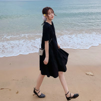 Dress Summer 2021 black S,M,L,XL Mid length dress singleton  Short sleeve commute Crew neck Loose waist Solid color Socket A-line skirt routine Others 18-24 years old Type A Korean version 91% (inclusive) - 95% (inclusive) other other