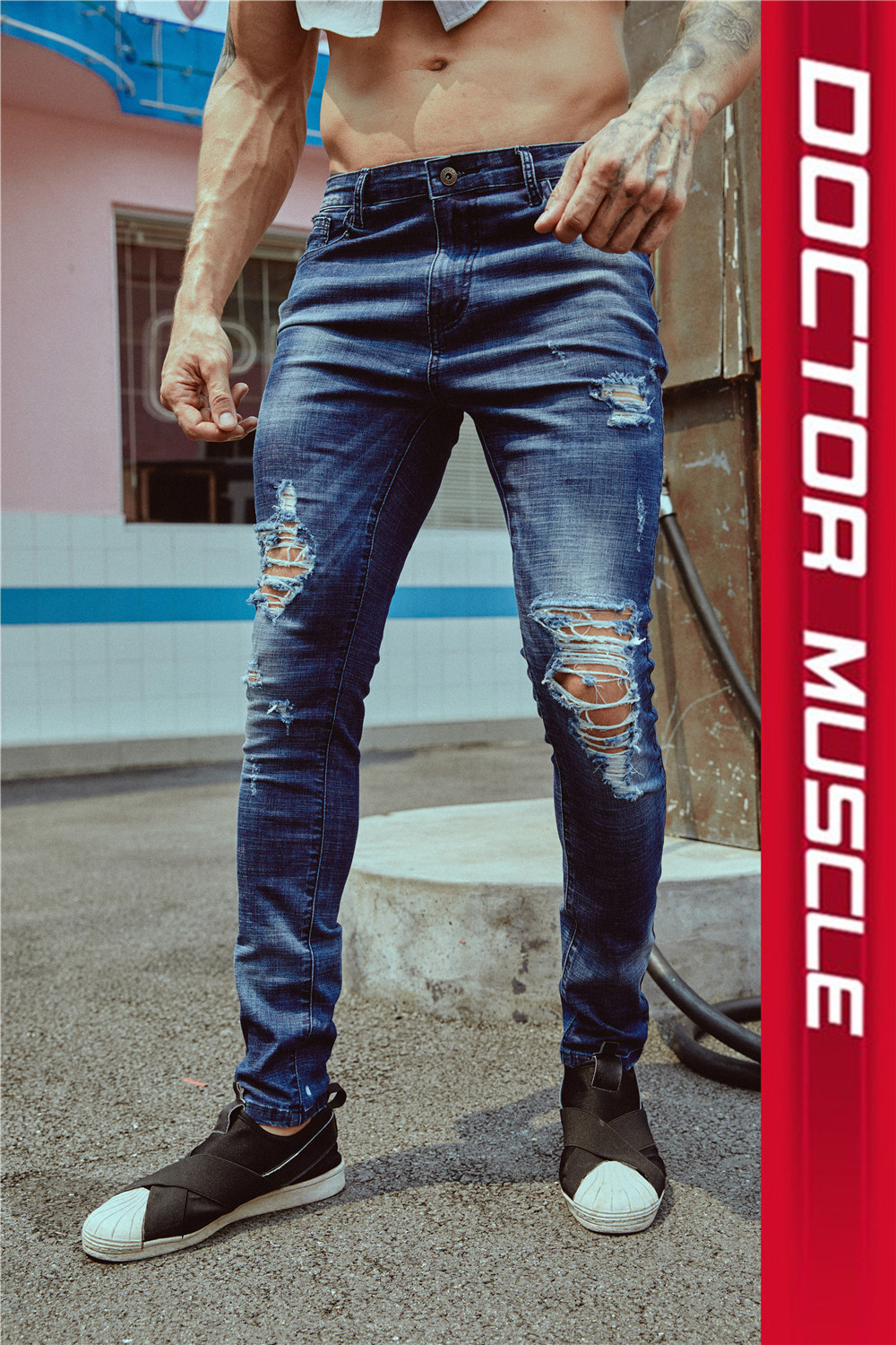 Jeans Youth fashion Doctor of muscle S M L XL 2XL Light blue dark blue Thin money Thin denim trousers motion summer youth Youthful vigor 2018
