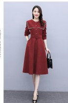 Dress Spring 2021 Red, black, coffee S,M,L,XL Mid length dress Long sleeves Other / other