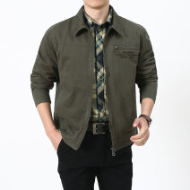 Jacket Jeep chariot / Jeep Chariot Business gentleman Army green, khaki, black routine standard Other leisure stand collar Simplicity in Europe and America youth routine Zipper placket 2018 washing Solid color cotton More than 95%
