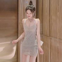 Dress Spring 2021 Apricot white S,M,L Short skirt singleton  Sleeveless commute V-neck low-waisted Dot Socket One pace skirt routine camisole Korean version