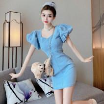 Dress Summer 2021 Light blue S,M,L Short skirt singleton  Short sleeve square neck zipper A-line skirt puff sleeve Others 18-24 years old Type A