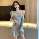 Dress Autumn 2020 Gray, black S,M,L Short skirt singleton  Long sleeves commute High waist Solid color Ruffle Skirt 18-24 years old Type A Korean version