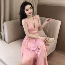 Dress Summer 2021 Pink, black Average size longuette singleton  Sleeveless Sweet V-neck High waist Solid color 18-24 years old Type A Other / other 31% (inclusive) - 50% (inclusive) princess