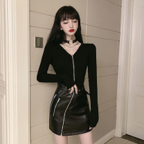 Fashion suit Spring 2021 S,M,L Black T with collar, leather skirt with belt 18-25 years old 51% (inclusive) - 70% (inclusive) cotton