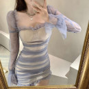 Dress Spring 2021 Picture color S,M,L Short skirt singleton  Long sleeves commute square neck High waist Socket A-line skirt 18-24 years old Type A Open back, fold, gauze net
