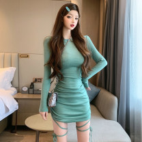 Dress Spring 2021 Purple, green S,M,L Short skirt singleton  Long sleeves commute Crew neck High waist Solid color Socket One pace skirt routine 18-24 years old Type H Splicing polyester fiber