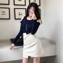Fashion suit Spring 2021 S. M, l, average size White (T-shirt), apricot (T-shirt), gray (T-shirt), dark blue (T-shirt), black (T-shirt) 18-25 years old M83-M84 51% (inclusive) - 70% (inclusive) polyester fiber