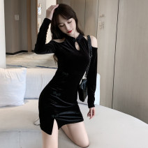 Dress Spring 2021 black S,M,L Short skirt singleton  Long sleeves commute High waist Solid color One pace skirt Others 18-24 years old Retro 3867#