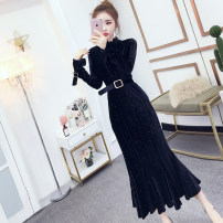 Dress Spring 2021 black Average size Mid length dress singleton  Long sleeves Half high collar High waist Socket 18-24 years old Type A Other / other Splicing, bandage