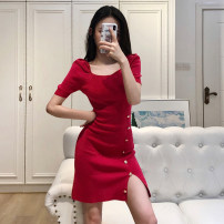 Dress Spring 2021 Pink, Fuchsia, violet, red, black Average size longuette singleton  Short sleeve commute square neck High waist Solid color Socket A-line skirt routine 18-24 years old Type A Button M41 51% (inclusive) - 70% (inclusive) polyester fiber