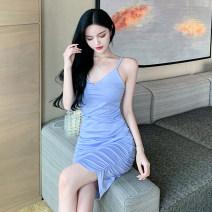 Dress Summer 2021 Purple, pink S,M,L Short skirt singleton  Sleeveless V-neck One pace skirt 18-24 years old Other / other