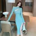 Dress Spring 2021 Green, black S,M,L Mid length dress singleton  Long sleeves commute High waist Solid color One pace skirt routine 18-24 years old Type A Korean version