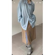 skirt Spring 2021 S,M,L Khaki, khaki pre-sale 5-7 working days Mid length dress commute 18-24 years old AQD203005 71% (inclusive) - 80% (inclusive) polyester fiber Korean version