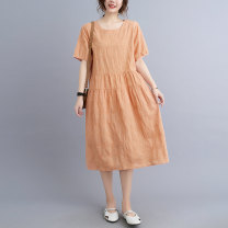 Dress Summer 2021 Purple, pink orange M,L,XL,2XL Mid length dress singleton  Short sleeve commute Crew neck Loose waist Solid color Socket other routine 30-34 years old Type A Simplicity More than 95% other