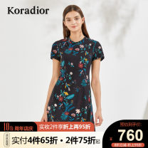 Dress Summer 2020 black S M L XL XXL Middle-skirt singleton  Short sleeve commute Crew neck middle-waisted Broken flowers Socket other routine Others 30-34 years old Koradior / coretti lady Splicing KF02718W0 More than 95% other polyester fiber Polyester 100%