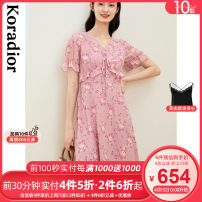 Dress Summer 2021 Light red S M L XL 2XL Mid length dress singleton  Short sleeve commute V-neck middle-waisted Broken flowers Socket Princess Dress routine 30-34 years old Type X Koradior / coretti lady Auricularia auricula splicing KF05523A1 More than 95% polyester fiber Polyester 100%
