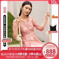 Dress Spring 2021 Light red S M L XL 2XL Mid length dress singleton  Long sleeves commute V-neck middle-waisted Solid color Socket A-line skirt routine 30-34 years old Type X Koradior / coretti lady Lace More than 95% other nylon Polyamide fiber (nylon) 100%