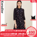 Dress Winter 2020 black S M L XL 2XL Mid length dress singleton  Nine point sleeve commute Crew neck middle-waisted Broken flowers Socket A-line skirt routine 30-34 years old Type X Koradior / coretti lady Splicing KF04903W0 More than 95% other polyester fiber Polyester 100%
