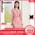 Dress Spring 2021 Light red S M L XL 2XL Mid length dress singleton  Long sleeves commute V-neck middle-waisted Broken flowers Socket routine 30-34 years old Type X Koradior / coretti lady Splicing KF05461A2 91% (inclusive) - 95% (inclusive) other polyester fiber