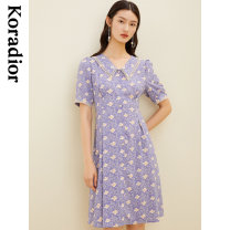 Dress Spring 2021 Lilac S M L XL 2XL Middle-skirt singleton  Short sleeve commute middle-waisted Decor Single breasted Princess Dress routine 30-34 years old Type X Koradior / coretti Simplicity Splicing ZBKF05206Q1 More than 95% other polyester fiber Polyester 100%