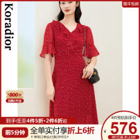 Dress Summer 2021 Bright red S M L XL 2XL Mid length dress singleton  Short sleeve commute V-neck middle-waisted other Socket other routine 30-34 years old Type X Koradior / coretti lady Splicing KF05479A6 More than 95% polyester fiber Polyester 100%