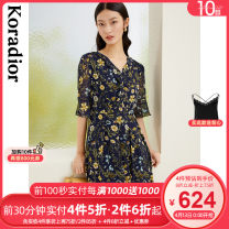 Dress Spring 2021 Dark peacock blue S M L XL 2XL Mid length dress singleton  elbow sleeve commute V-neck middle-waisted Broken flowers Socket A-line skirt pagoda sleeve 30-34 years old Type X Koradior / coretti lady fold More than 95% other polyester fiber Polyester 100%