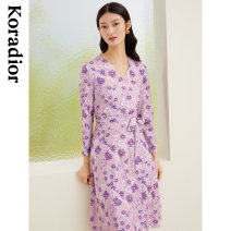 Dress Spring 2021 Light violet S M L XL 2XL Mid length dress singleton  Nine point sleeve commute V-neck middle-waisted Broken flowers Socket A-line skirt routine 30-34 years old Type X Koradior / coretti lady Lace ZBKF05426S1 More than 95% other polyester fiber Polyester 100%