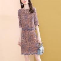 Dress Spring 2021 Brown S,M,L,XL,2XL