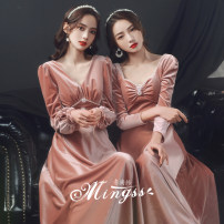 Dress / evening wear Weddings, adulthood parties, company annual meetings, daily appointments XS S M L XL XXL A B C D Korean version longuette middle-waisted Winter 2020 A-line skirt square neck Bandage 18-25 years old MSS-21062 flower Solid color Mingshang yarn routine Polyester 100%