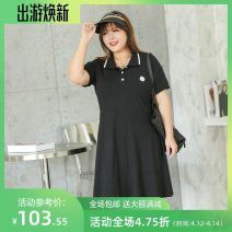 Women's large Summer 2020 black Four, five, six, seven, eight, nine Dress singleton  commute Self cultivation moderate Conjoined Short sleeve Plants and flowers lady Polo collar cotton Three dimensional cutting routine miss38 30-34 years old Embroidery 96% and above Medium length