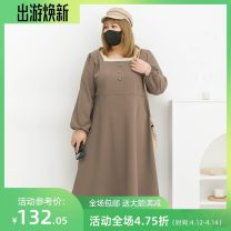 Women's large Spring 2021 Coffee with apricot, black with apricot Three, four, five, six, seven, eight, nine Dress singleton  commute easy moderate Conjoined Long sleeves Solid color Korean version square neck Polyester, others Three dimensional cutting routine miss38 30-34 years old 96% and above