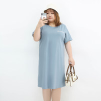 Women's large Summer 2021 Black, fog blue Three, four, five, six, seven, eight, nine Dress singleton  commute easy moderate Conjoined Short sleeve letter Korean version Crew neck cotton Three dimensional cutting miss38 30-34 years old 96% and above Medium length