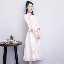 cheongsam Summer of 2019 S M L XL XXL XXXL 19057 pink 19058 Pink three quarter sleeve long cheongsam Retro No slits daily Oblique lapel Big flower 18-25 years old Embroidery YFF19057 Yan Fangfei other Other 100% Pure e-commerce (online only) 96% and above