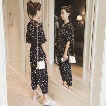 Casual pants White, black M,L,XL Summer of 2019 Ninth pants Jumpsuit commute Korean version