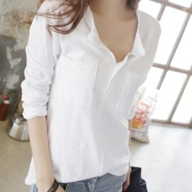 T-shirt White, yellow, light gray, black, lotus root, taro S,M,L,XL,2XL,3XL Autumn of 2018 Long sleeves V-neck easy Regular routine commute cotton 96% and above Korean version classic Solid color Other / other pocket