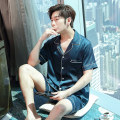 Pajamas / housewear set male Expensive embroidery L,XL,XXL,XXXL G-1811 Navy, g-1811 grey, g-1811 Navy, g-1811 red, g-1799 grey, g-1799 Navy, g-1799 champagne, g-1799 Tan, g-1833 stripe Iced silk Short sleeve Simplicity pajamas summer Thin money Small lapel Solid color shorts Front buckle youth silk
