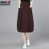 skirt Summer 2021 M L XL XXL Brown and blue Mid length dress commute High waist A-line skirt Solid color Type A 40-49 years old ONLSJYJ213101 More than 95% Oulileisha / onylisha hemp Pleated pocket Korean version Flax 100% Pure e-commerce (online only)